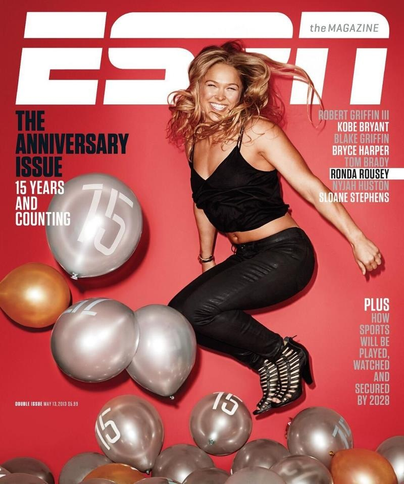 Ronda rousey featured on the cover of 39 espn the magazine for Anniversary magazine