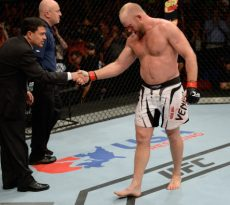 BANGOR, ME - AUGUST 16:  Tim Boetsch shakes hands with Joe Silva after knocking out Brad Tavares in their middleweight bout during the UFC fight night event at the Cross Insurance Center on August 16, 2014 in Bangor, Maine. (Photo by Jeff Bottari/Zuffa LLC/Zuffa LLC via Getty Images)