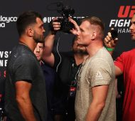 HAMBURG, GERMANY - SEPTEMBER 02:  Josh Barnett of the USA and Andrei Arlovski of Belarus come face to face during the UFC Fight Night Weigh-in held at Barclaycard Arena on September 2, 2016 in Hamburg, Germany.  Andrei 'The Pit Bull' Arlovski and Josh 'The Warmaster' Barnett will fight in the main event on Saturday the 3rd of September, 2016 in this location.  (Photo by Dean Mouhtaropoulos/Zuffa LLC/Zuffa LLC via Getty Images)