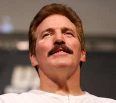 LAS VEGAS, NV - NOVEMBER 15:  UFC legend Dan Severn interacts with fans during a Q&A session before the UFC 167 weigh-in inside the MGM Grand Garden Arena on November 15, 2013 in Las Vegas, Nevada. (Photo by Josh Hedges/Zuffa LLC/Zuffa LLC via Getty Images)