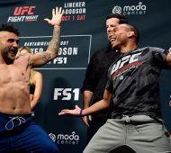 PORTLAND, OR - SEPTEMBER 30:  (L-R) John Lineker of Brazil and John Dodson face-off during the UFC Fight Night weigh-in at the Oregon Convention Center on September 30, 2016 in Portland, Oregon. (Photo by Mike Roach/Zuffa LLC/Zuffa LLC via Getty Images)