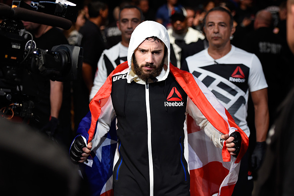 CLEVELAND, OH - SEPTEMBER 10:  Jimmie Rivera enters the arena prior to facing Urijah Faber in their bantamweight bout during the UFC 203 event at Quicken Loans Arena on September 10, 2016 in Cleveland, Ohio. (Photo by Josh Hedges/Zuffa LLC/Zuffa LLC via Getty Images)