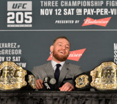 NEW YORK, NY - NOVEMBER 12:  UFC featherweight and lightweight champion Conor McGregor of Ireland speaks to the media during the UFC 205 post fight press conference at Madison Square Garden on November 12, 2016 in New York City. (Photo by Brandon Magnus/Zuffa LLC/Zuffa LLC via Getty Images)