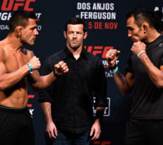 MEXICO CITY, MEXICO - NOVEMBER 04:  (L-R) Rafael dos Anjos of Brazil and Tony Ferguson of the United States face off during the UFC weigh-in at the Arena Ciudad de Mexico on November 4, 2016 in Mexico City, Mexico. (Photo by Jeff Bottari/Zuffa LLC/Zuffa LLC via Getty Images)
