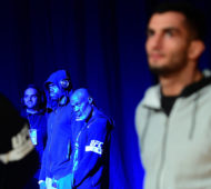 BELFAST, NORTHERN IRELAND - NOVEMBER 18:  (L-R)Uriah Hall of the United States and Gegard Mousasi of the Netherlands  wait backstage during the UFC Fight Night weigh-in at the SSE Arena on November 18, 2016 in Belfast, Northern Ireland. (Photo by Mike Roach/Zuffa LLC/Zuffa LLC via Getty Images)