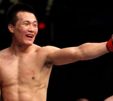 """FAIRFAX, VA - MAY 15:  """"The Korean Zombie"""" Chan Sung Jung reacts after defeating Dustin Poirier in a featherweight bout during the UFC on Fuel TV event at Patriot Center on May 15, 2012 in Fairfax, Virginia.  (Photo by Josh Hedges/Zuffa LLC/Zuffa LLC via Getty Images)"""