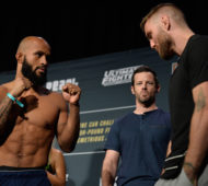 LAS VEGAS, NV - DECEMBER 02:  (L-R) UFC flyweight champion Demetrious Johnson and Tim Elliott  face off during the TUF Finale weigh-in in the Palms Resort & Casino on December 2, 2016 in Las Vegas, Nevada. (Photo by Brandon Magnus/Zuffa LLC/Zuffa LLC via Getty Images)