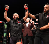 LAS VEGAS, NV - DECEMBER 03:  Demetrious Johnson celebrates his unanimous-decision victory over Timothy Elliott in their flyweight championship bout during The Ultimate Fighter Finale event inside the Pearl concert theater at the Palms Resort & Casino on December 3, 2016 in Las Vegas, Nevada. (Photo by Jeff Bottari/Zuffa LLC/Zuffa LLC via Getty Images)