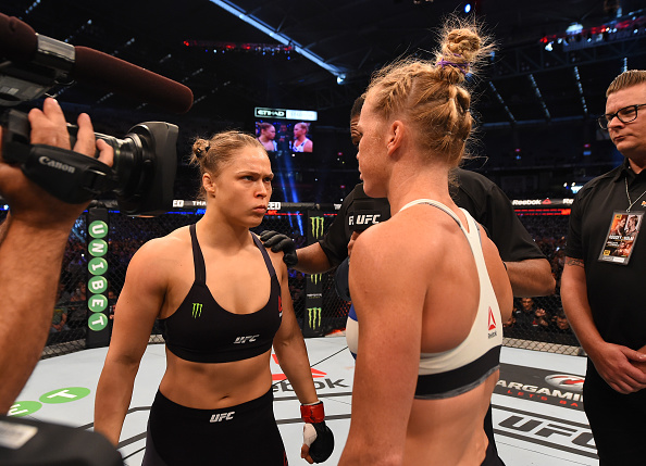 Ronda Rousey faces of with Holly Holm ahead of their UFC 193 headliner